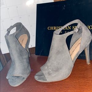 Grey Bootie Heels by Christian Siriano size 9WIDE
